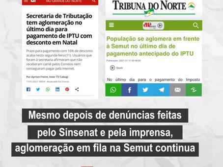 Mesmo depois de denúncias feitas pelo Sinsenat e pela imprensa, aglomeração na Semut continua