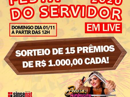 PREMIAÇÃO DO SORTEIO PARA FILIADOS DURANTE A FESTA LIVE DO SERVIDOR DIA 1/11