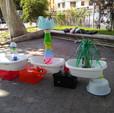 Les fontaines finis exposées dans le jardin