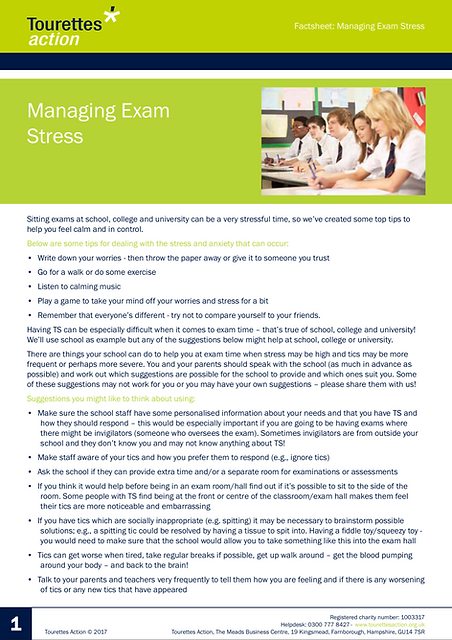 Tourettes: Managing Exam Stress