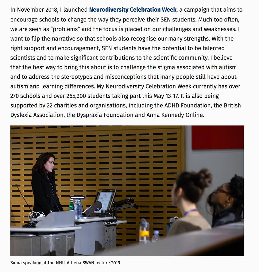 Siena Castellon discusses Neurodiversity Celebration Week