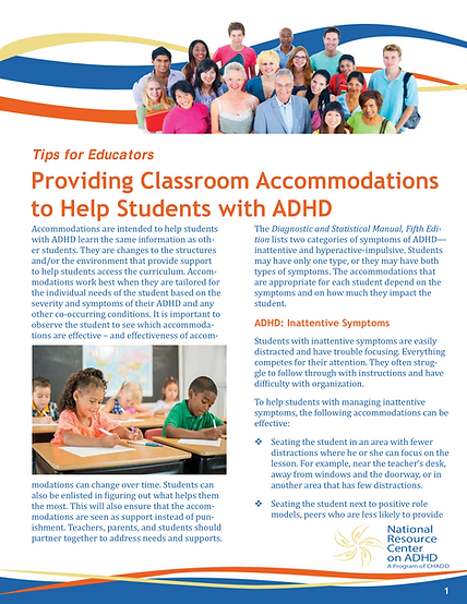 ADHD Classroom Accommodations