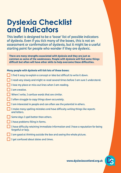 Dyslexia: Checklist and Indicators
