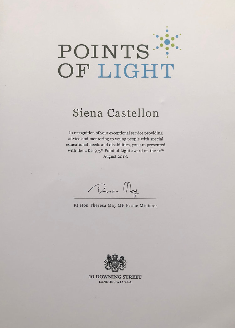Points of Light Award from Prime Minister Theresa May awarded to Siena Castellon.