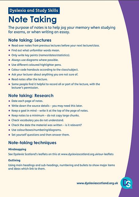 Dyslexia: Note Taking Skills