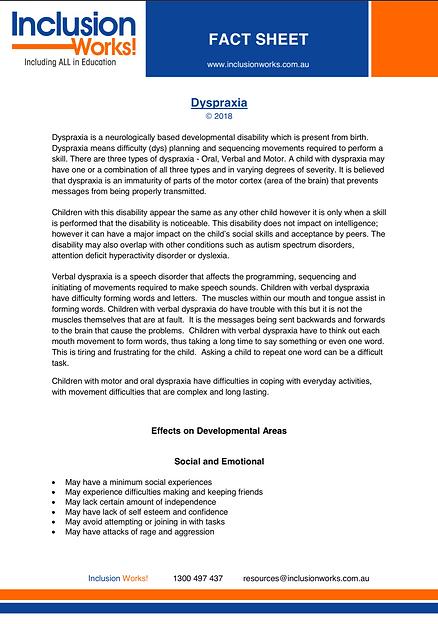 Dyspraxia Fact Sheet 2