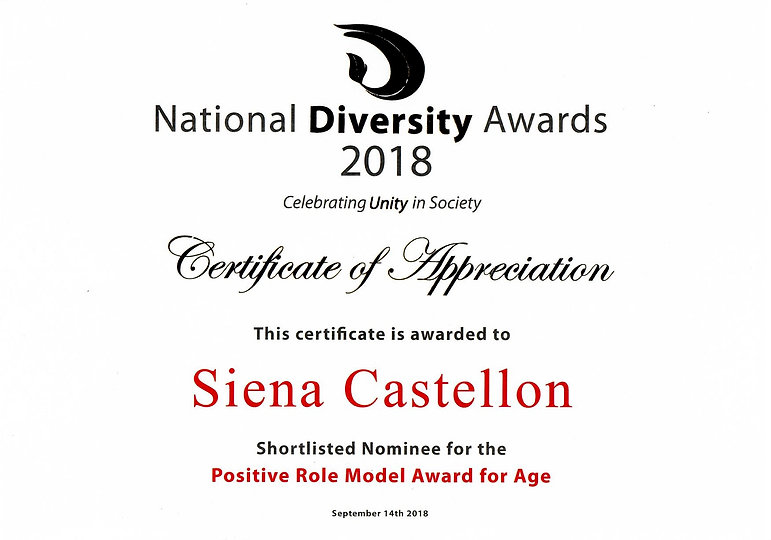 Siena Castellon, National Diversity Awards 2018 Certificate of Appreciation