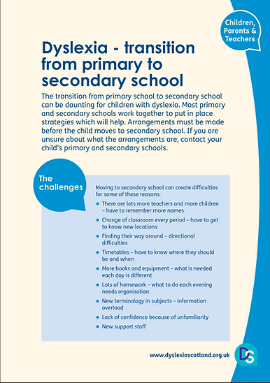 Dyslexia - Transitioning from Primary to Secondary School