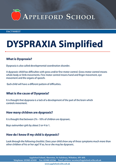 Dyspraxia Information Sheet