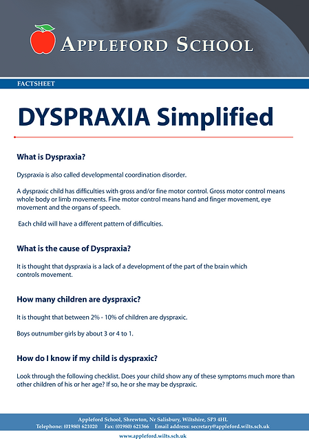 Dyspraxia Information Sheet