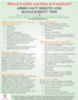 ADHD Fact Sheet and Management Tips
