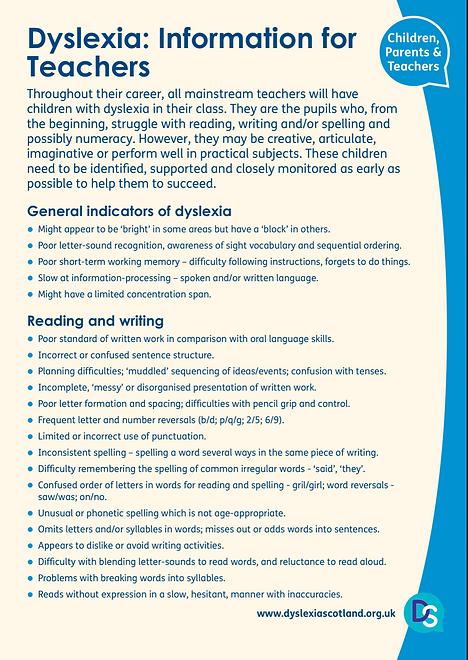 Dyslexia: Information for Teachrs
