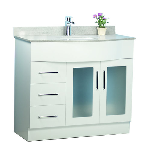 "40"" Traditional Style Curved White Vanity with Stone Top"