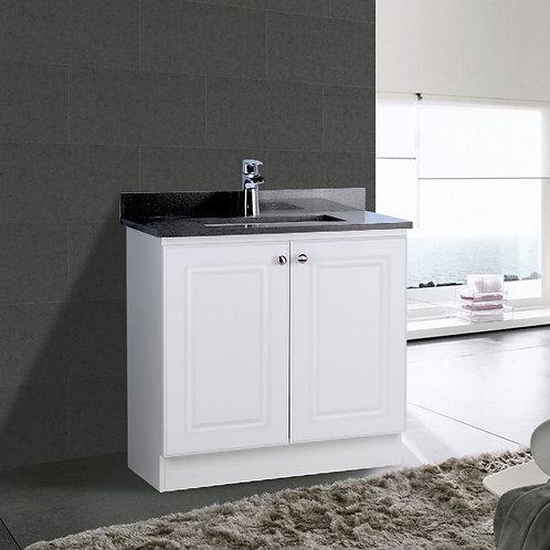 "30"" White Cabinet Double Doors with Quartz Top (Customized)"