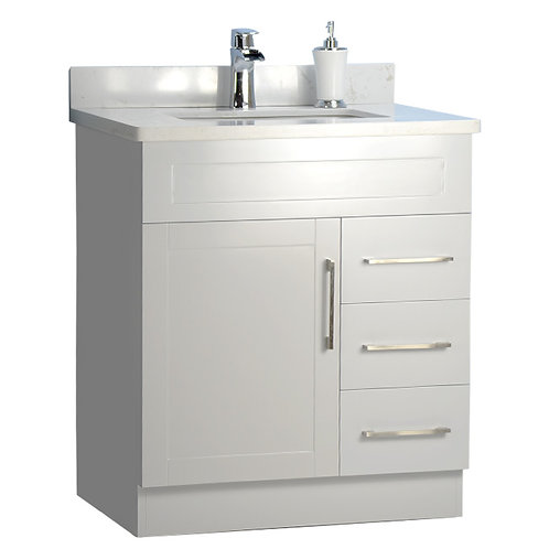 """30"""" Shaker Style Gray Vanity with Stone Top"""