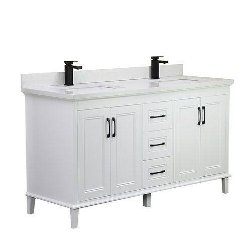 "60"" European Style Double-Sink Vanity with Stone Top"