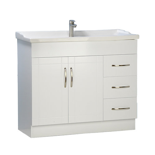 "40"" White Vanity with Ceramic Top"