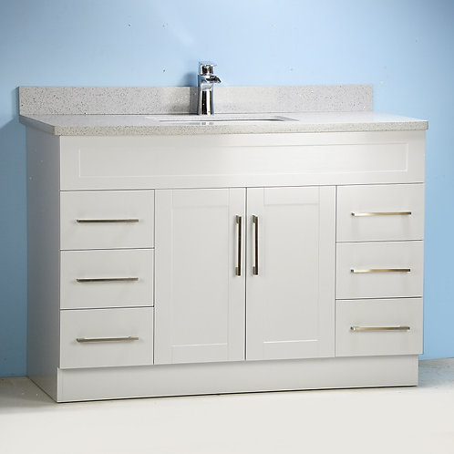"""54"""" Gray Shaker Style Vanity with Stone Top"""