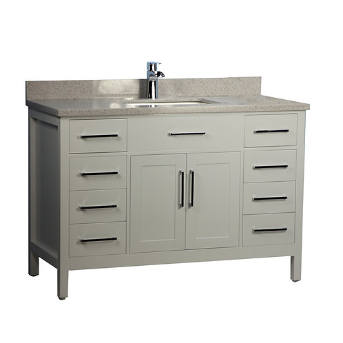 "54"" Solid Wood Gray Vanity with Stone Top"