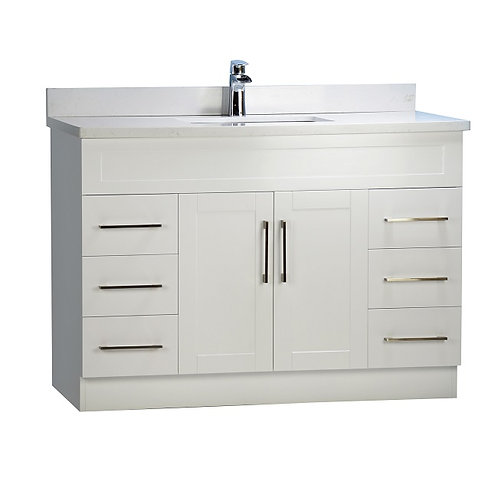 "48"" White Shaker Style Vanity with Stone Top"