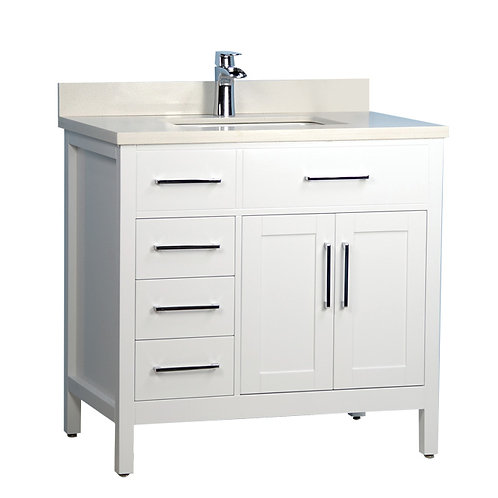 "36"" Classic Style Solid Wood White Vanity with Stone Top"