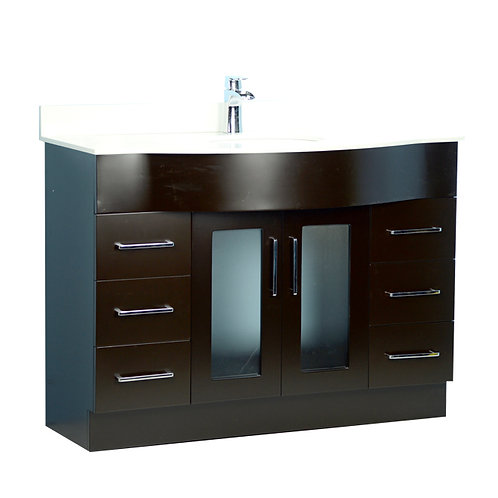 """48"""" Traditional Style Curved Espresso Vanity with Stone Top"""