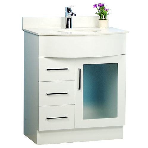 """30"""" White Traditional Style Vanity with Stone Top"""