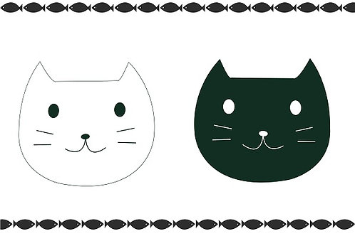 illustration 5 - Face of Black & White Cats (Cute)