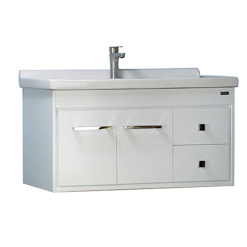 36'' Wall-Mounted Solid Wood White Vanity with Ceramic Sink