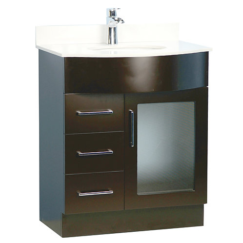 "30"" Traditional Style Espresso Vanity with Stone Top"