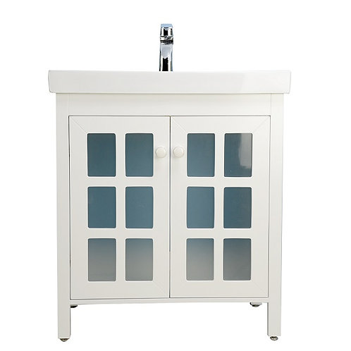 "30"" Modern White Vanity with Ceramic Top"