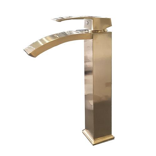 Single-Handle Square Vessel Sink Faucet (Brush Gold)