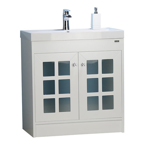 "32"" White Vanity with frosted glass doors"