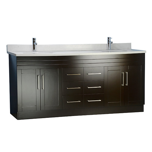 "72"" Espresso Vanity with Stone Top"