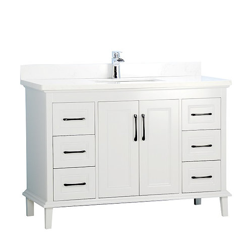 "48"" European Style White Vanity with Stone Top"