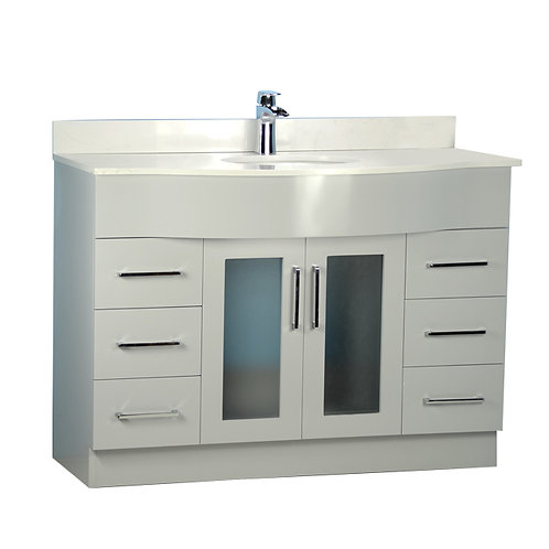 "48"" Traditional Style Curved Grey Vanity with Stone Top"