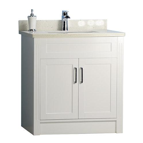 "32"" Shaker Style Double-door White Vanity with Stone Top"