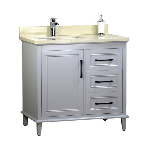 "36"" Off-Set Sink Gray Vanity with Stone Top"