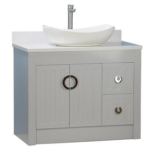 "36"" Vessel Sink Grey Vanity with Man-made Stone Top"