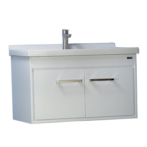 24'' Wall-Mounted Solid Wood Vanity with Ceramic Sink