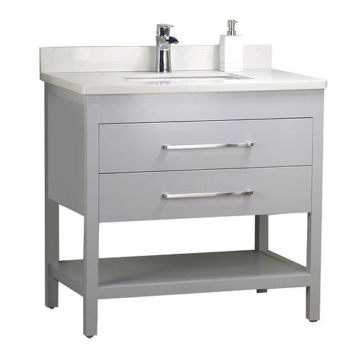 36'' Solid Wood Grey Vanity with Shelf
