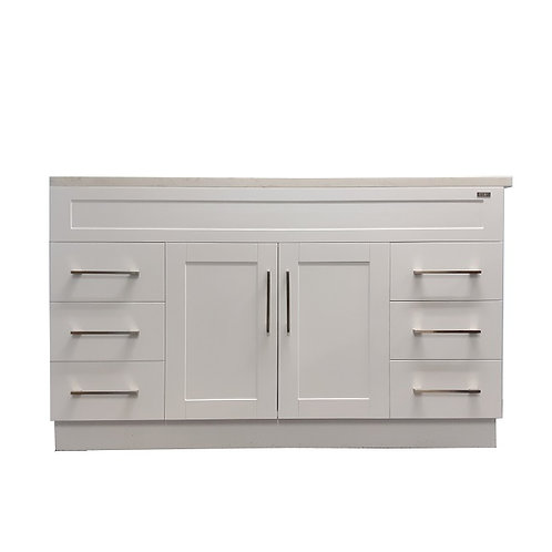 """54"""" White Shaker Style Vanity with Stone Top"""
