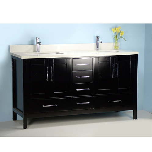 "60"" Solid Wood Vanity with Stone Top"