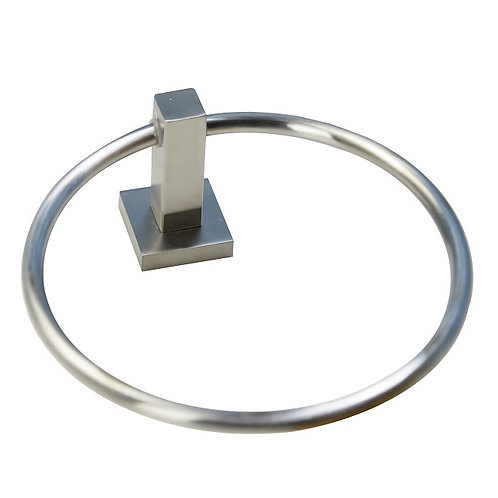 Square Base Towel Ring (Brushed Nickel)