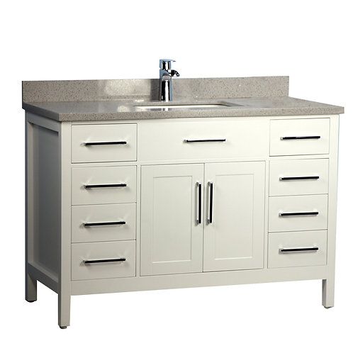 """48"""" Solid Wood White Vanity with Stone Top"""