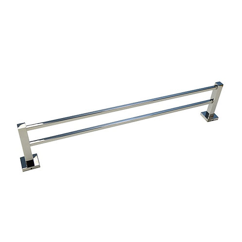Double-Bar Square Towel Rack with Chrome finish