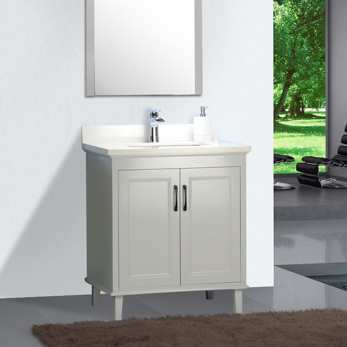 "26"" European Style Gray Double-doors Vanity with Stone Top"