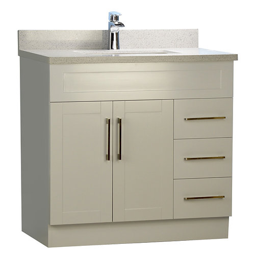 "36"" Shaker Style Grey Vanity with Stone Top"