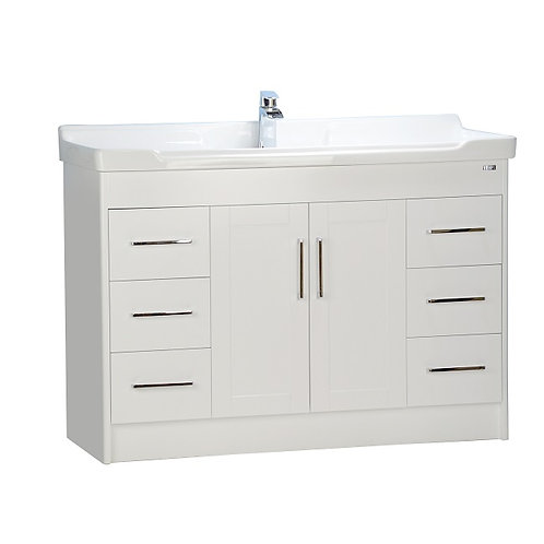 "48"" Shaker door style White Vanity with Ceramic Top"