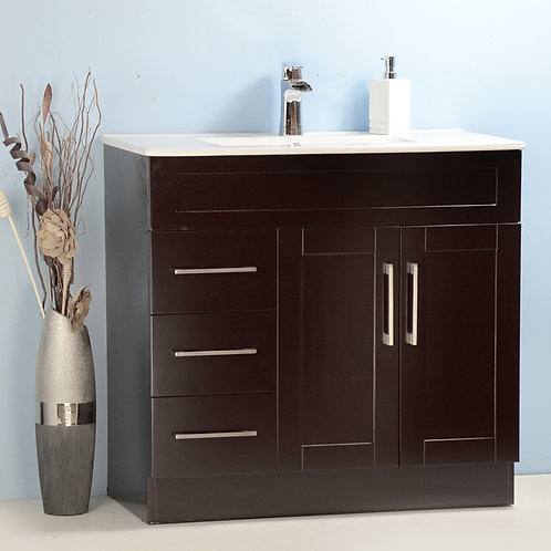 """36"""" Asher style Espresso Vanity with Ceramic Top"""